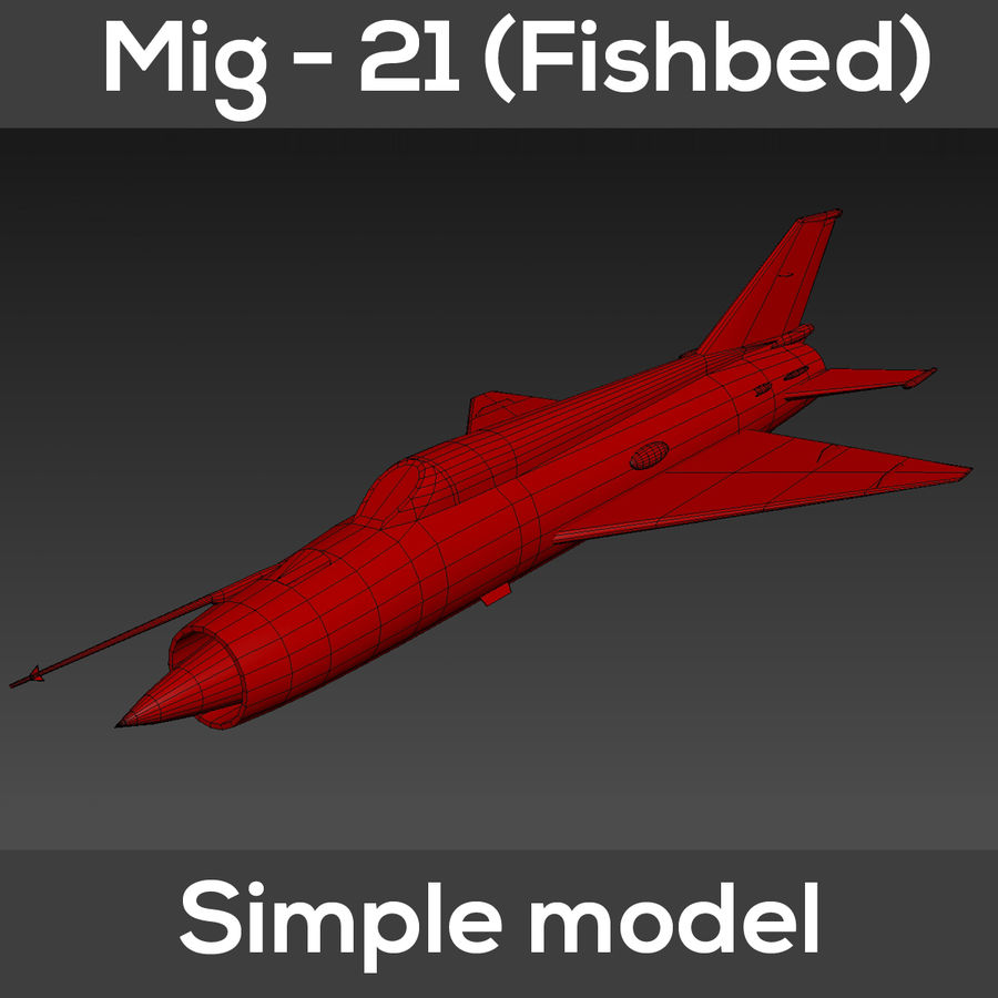 Mig - 21 Fishbed (simple model) royalty-free 3d model - Preview no. 9