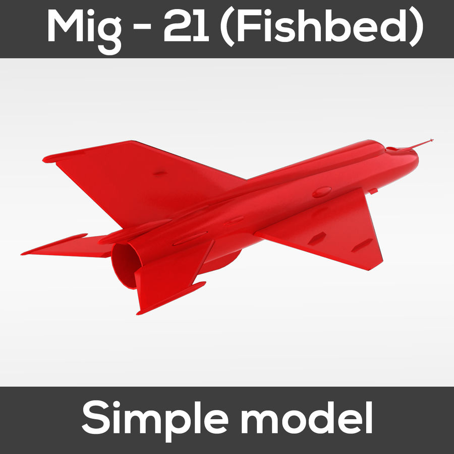 Mig - 21 Fishbed (simple model) royalty-free 3d model - Preview no. 5