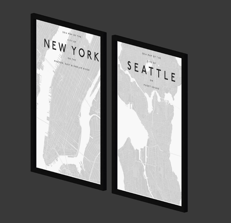 Picture Frames - City maps royalty-free 3d model - Preview no. 6