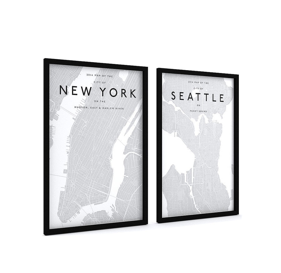 Picture Frames - City maps royalty-free 3d model - Preview no. 2