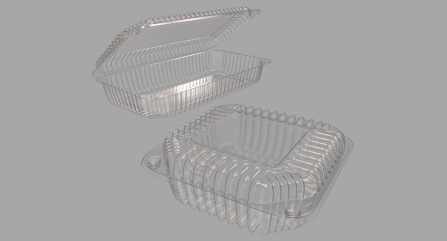 Plastic food containers royalty-free 3d model - Preview no. 3