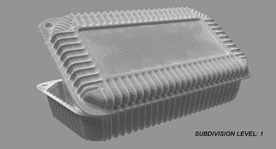 Plastic food containers royalty-free 3d model - Preview no. 22