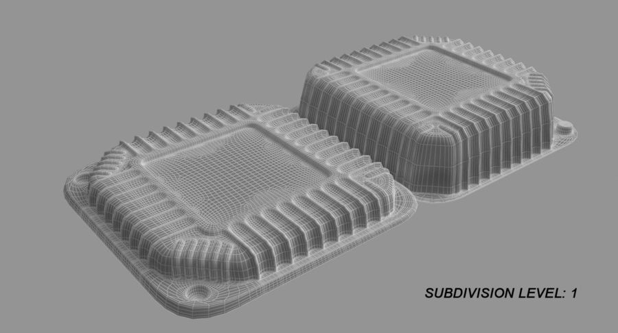 Plastic food containers royalty-free 3d model - Preview no. 16