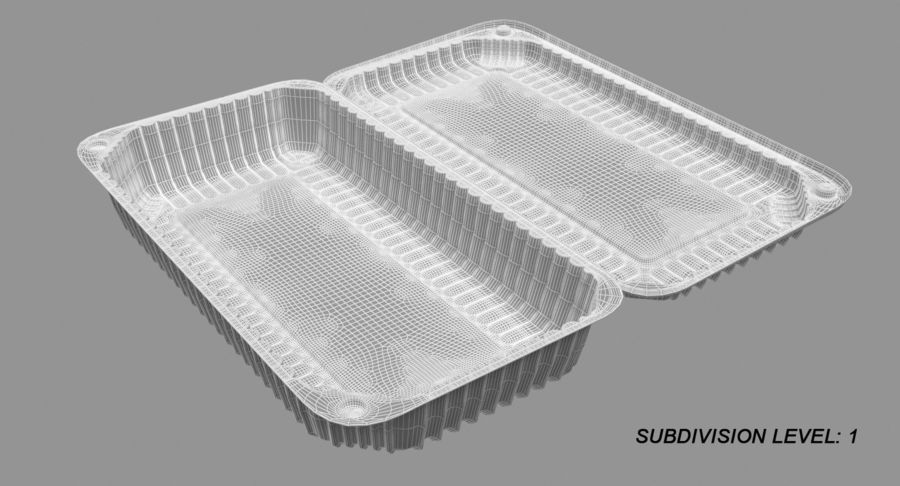 Plastic food containers royalty-free 3d model - Preview no. 19
