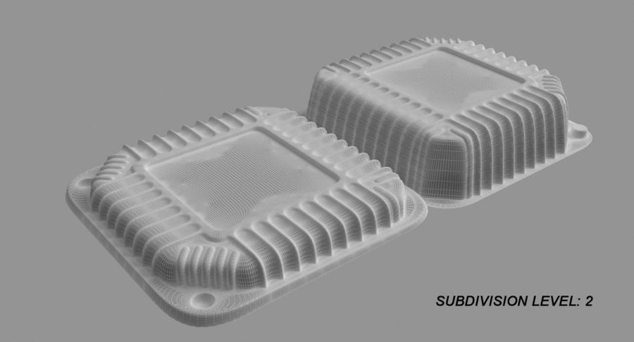 Plastic food containers royalty-free 3d model - Preview no. 17