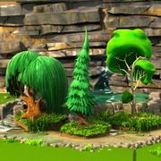 Cartoon bomen en stenen 3d model