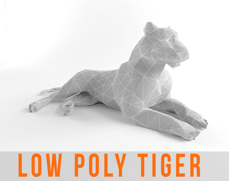 Tiger and Lion Low Poly Mammal Wild Africa Animal Lowpoly royalty-free 3d model - Preview no. 1