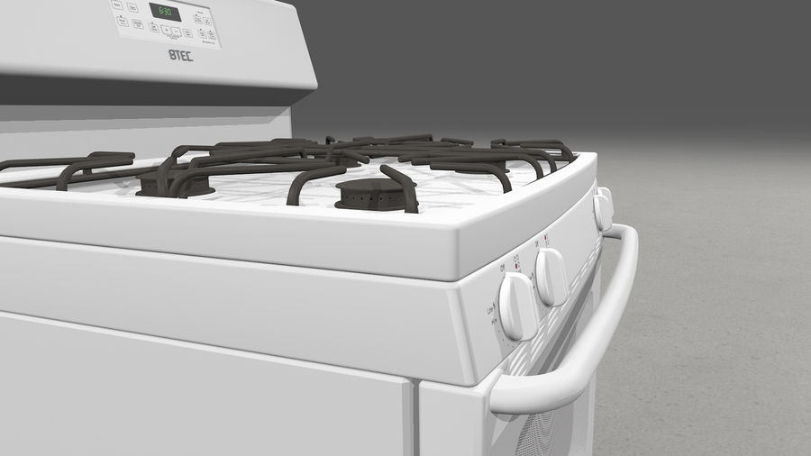 Cocina de gas / estufa royalty-free modelo 3d - Preview no. 7
