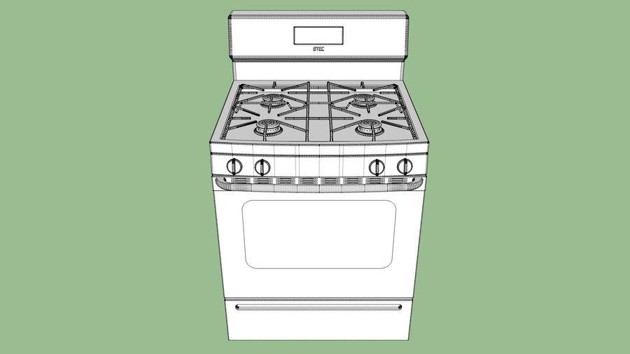 Cocina de gas / estufa royalty-free modelo 3d - Preview no. 17