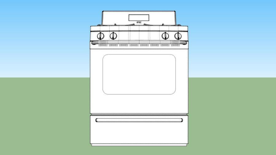 Cocina de gas / estufa royalty-free modelo 3d - Preview no. 16