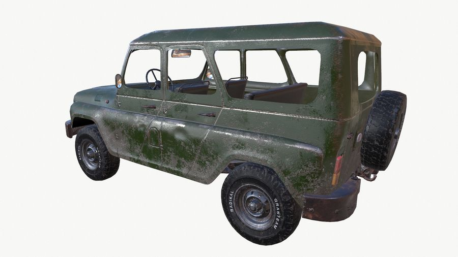 Uaz 469 royalty-free 3d model - Preview no. 4