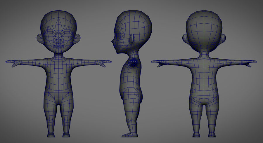 Low Poly Base Male Character Rigged royalty-free 3d model - Preview no. 4