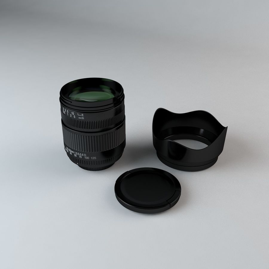 Lente de Câmera de 35mm 18-125mm royalty-free 3d model - Preview no. 1