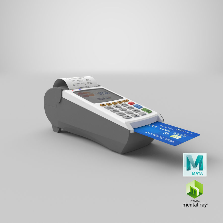 Pos Payment Terminal royalty-free 3d model - Preview no. 22