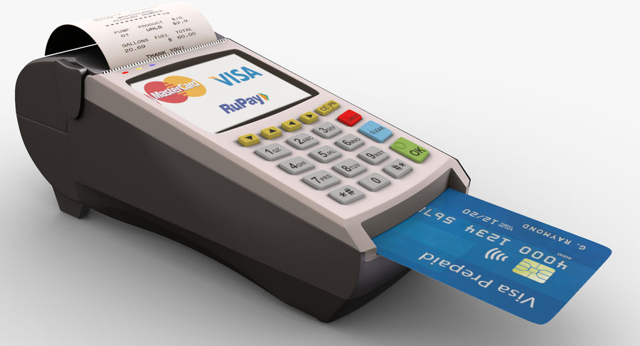 Pos Payment Terminal royalty-free 3d model - Preview no. 5