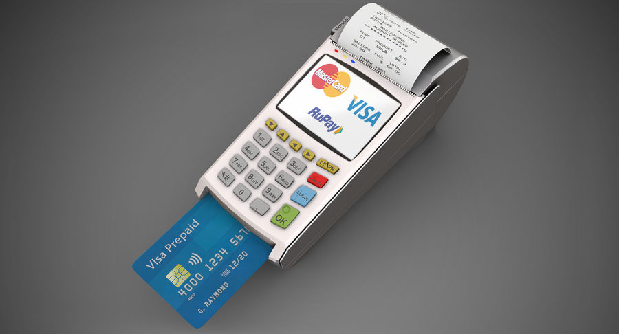 Pos Payment Terminal royalty-free 3d model - Preview no. 2