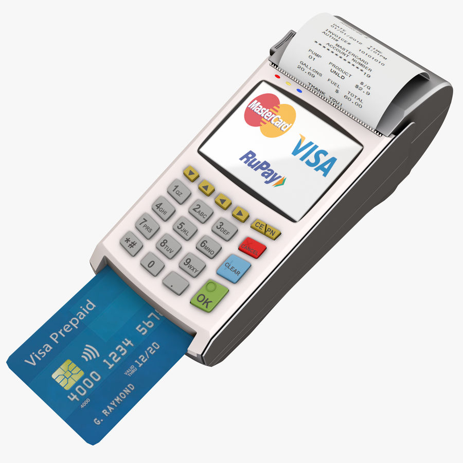 Pos Payment Terminal royalty-free 3d model - Preview no. 1