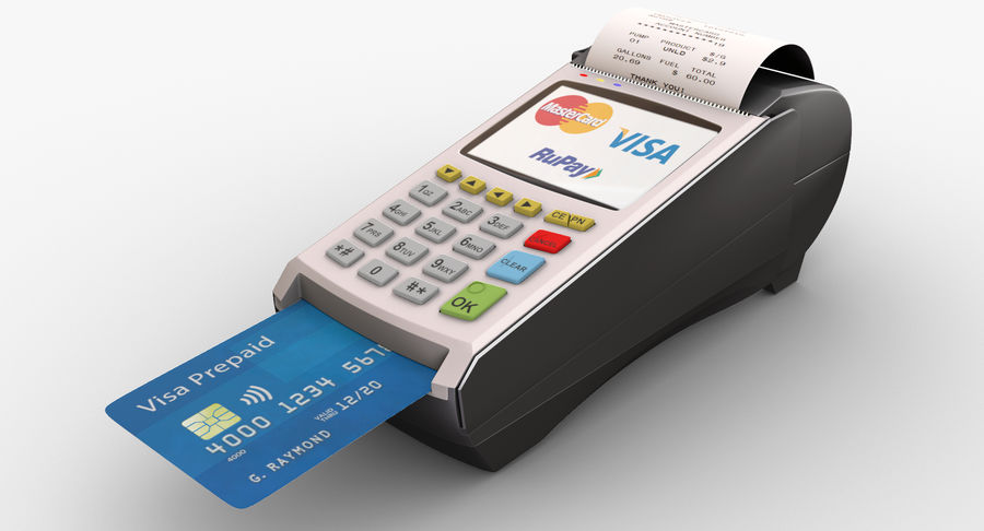 Pos Payment Terminal royalty-free 3d model - Preview no. 3