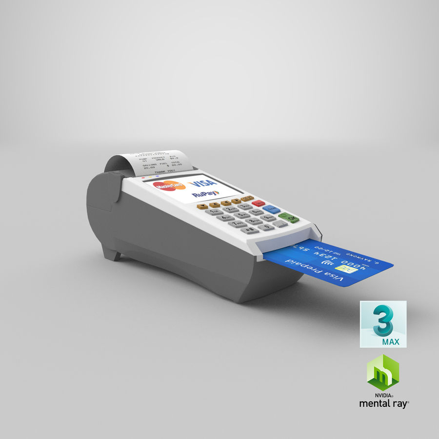 Pos Payment Terminal royalty-free 3d model - Preview no. 24