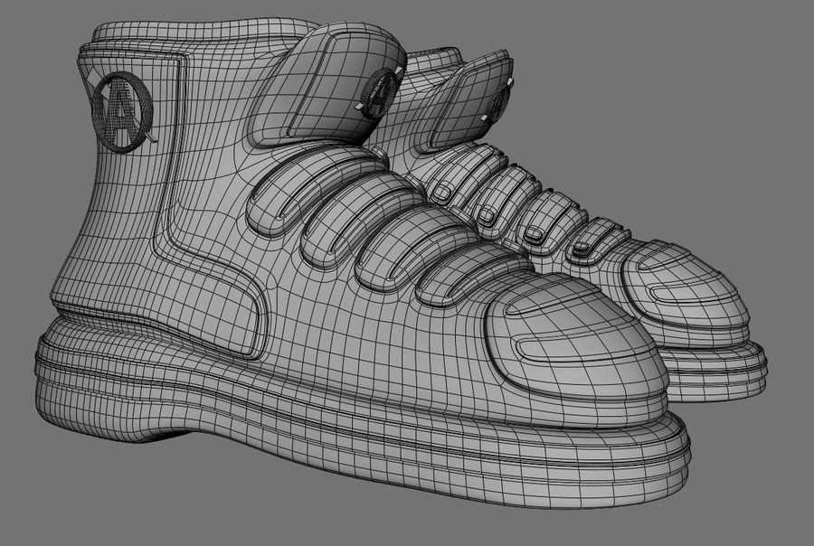 Stiefel-Turnschuh-Cartoon royalty-free 3d model - Preview no. 8