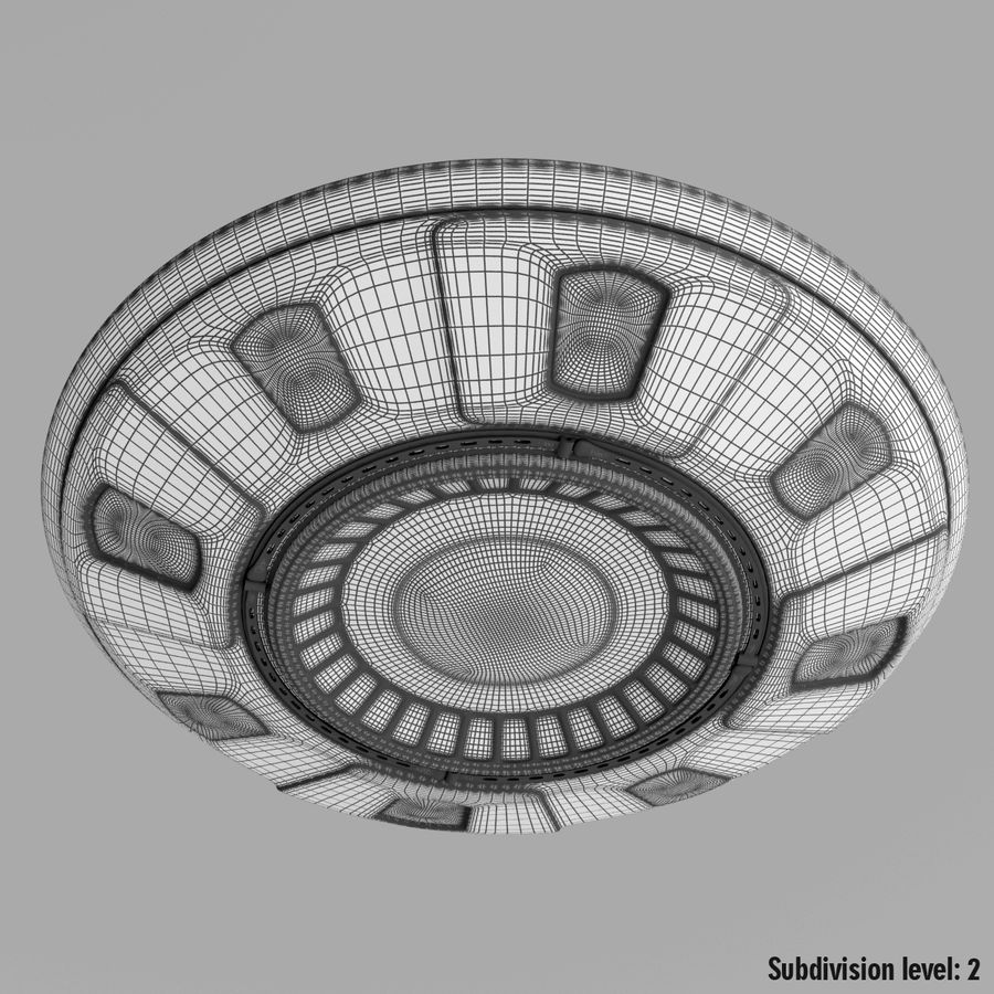 UFO Cartoon Style 02 royalty-free 3d model - Preview no. 15