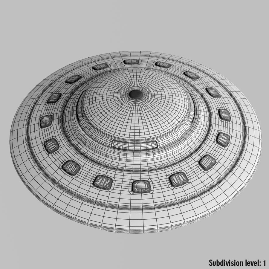 UFO Cartoon Style 02 royalty-free 3d model - Preview no. 11