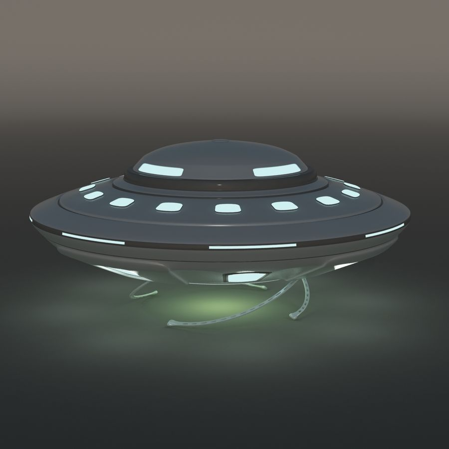 UFO Cartoon Style 02 royalty-free 3d model - Preview no. 6