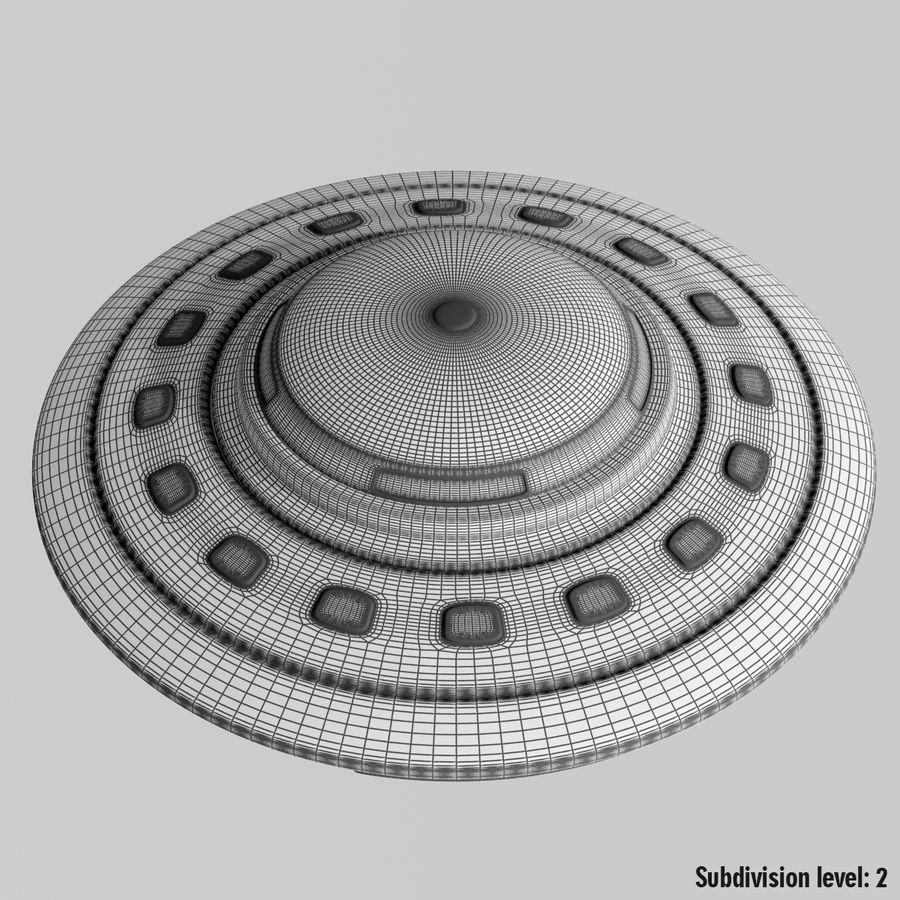 UFO Cartoon Style 02 royalty-free 3d model - Preview no. 10