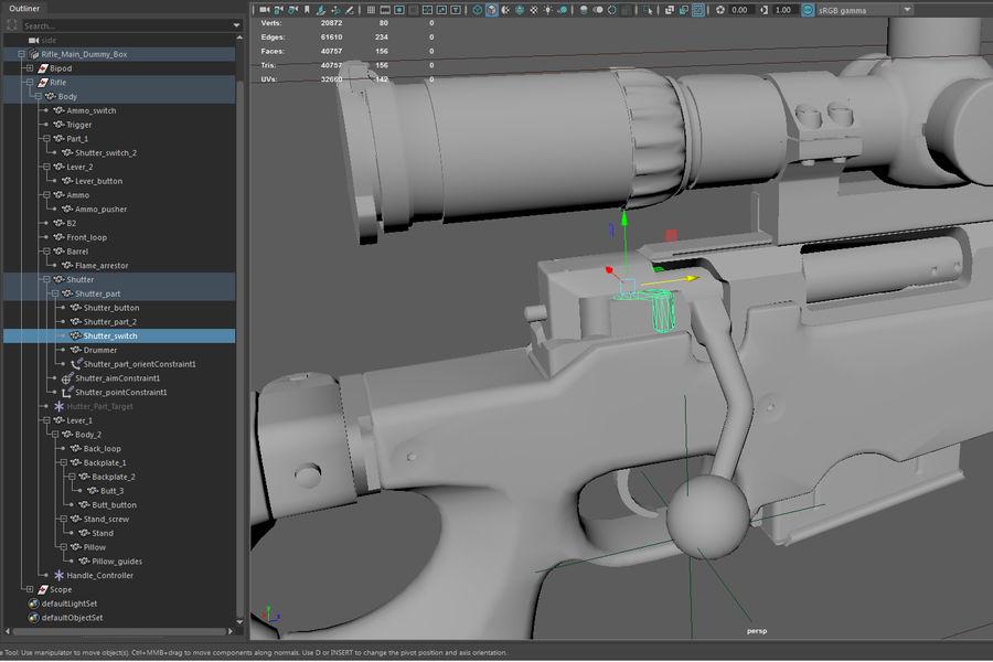 Снайперская винтовка AW L96A1 royalty-free 3d model - Preview no. 32