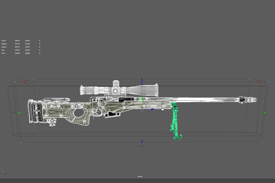 Снайперская винтовка AW L96A1 royalty-free 3d model - Preview no. 20