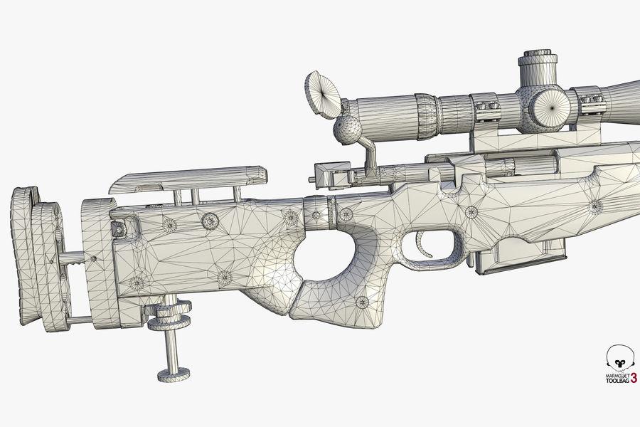 Снайперская винтовка AW L96A1 royalty-free 3d model - Preview no. 15