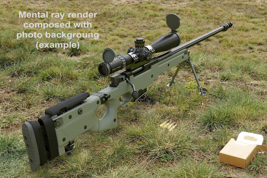 Снайперская винтовка AW L96A1 royalty-free 3d model - Preview no. 12