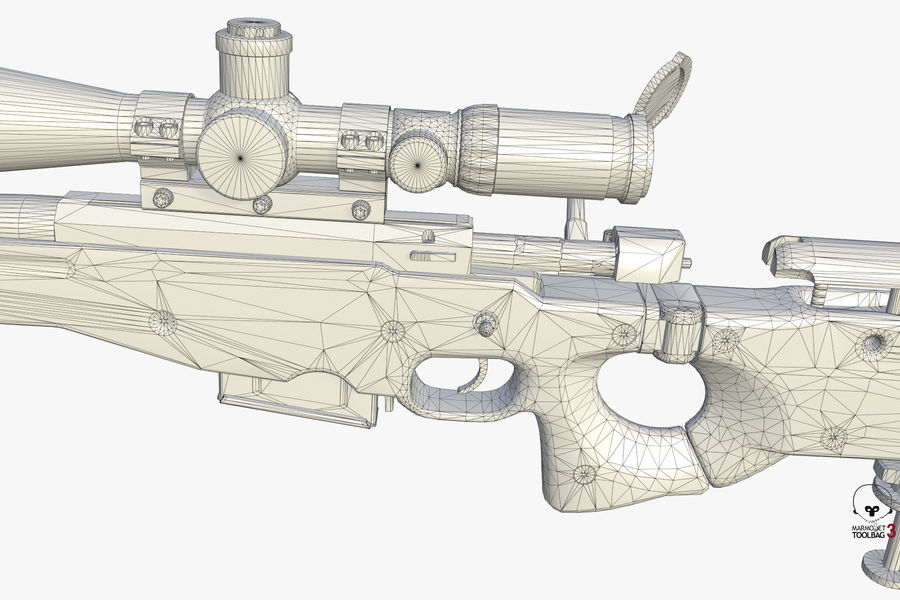 Снайперская винтовка AW L96A1 royalty-free 3d model - Preview no. 18
