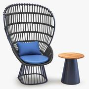 Kettal Cala扶手椅边桌 3d model