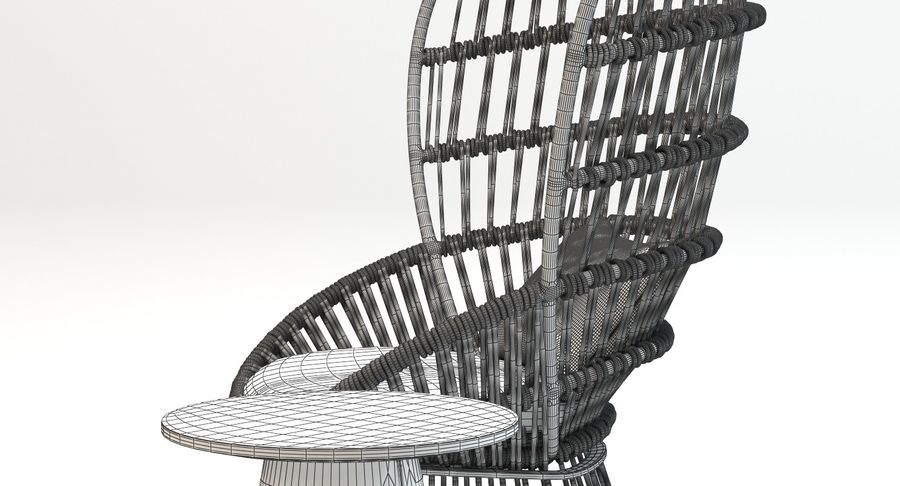 Kettal Cala扶手椅边桌 royalty-free 3d model - Preview no. 10