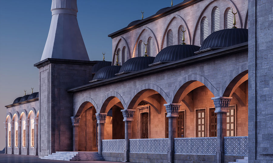 Mosque royalty-free 3d model - Preview no. 3