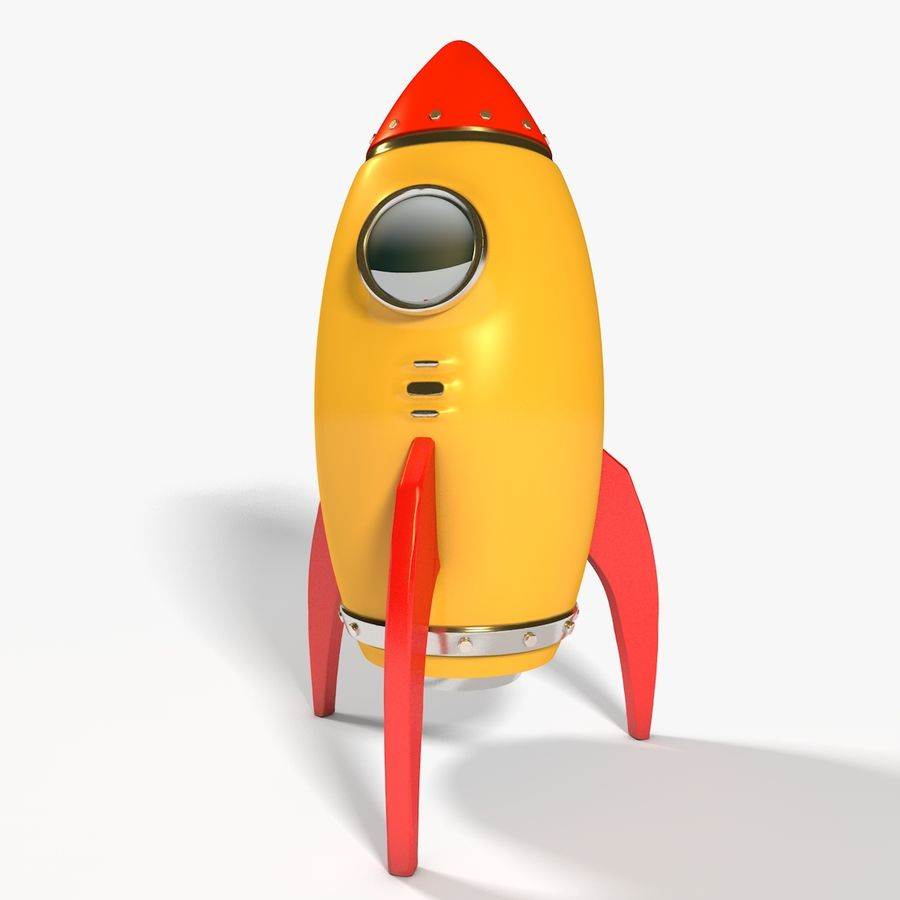 Rocket comic royalty-free 3d model - Preview no. 2