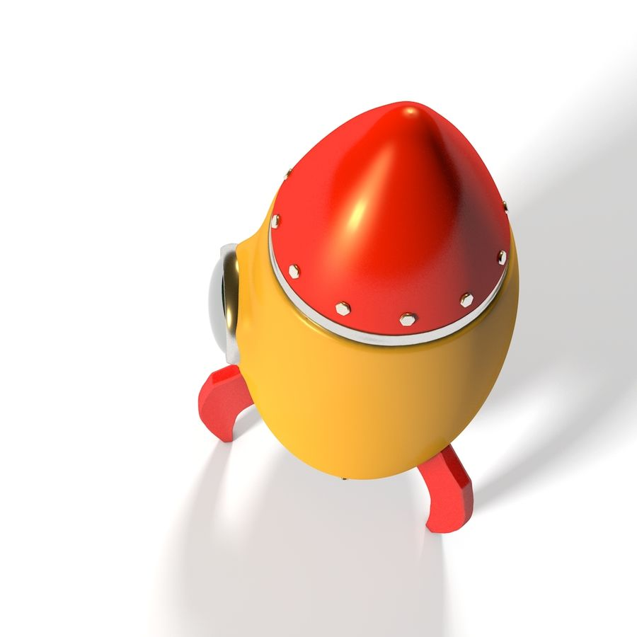 Rocket comic royalty-free 3d model - Preview no. 7