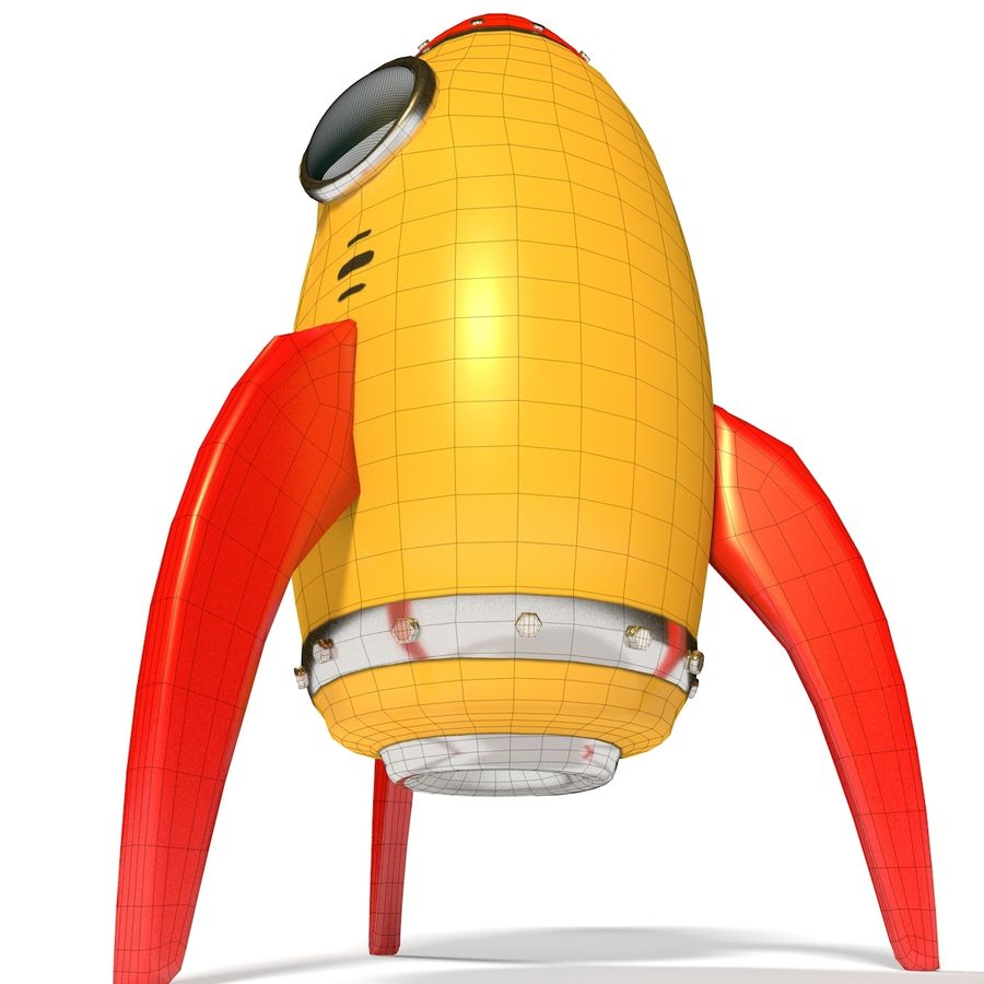 Rocket comic royalty-free 3d model - Preview no. 14