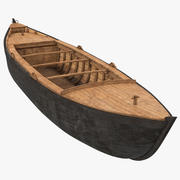 Large Wooden Freight Boat 3d model