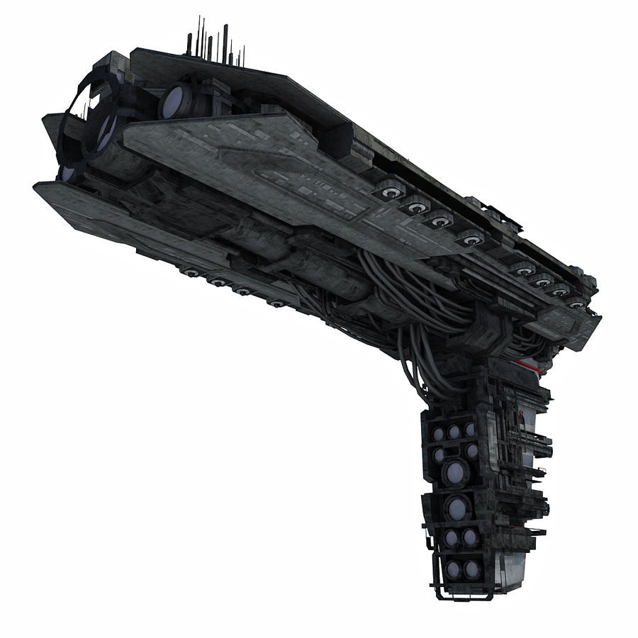 Sci Fi Spaceship Battleship Cruiser - Sci-Fi  Spacecraft 6 royalty-free 3d model - Preview no. 3