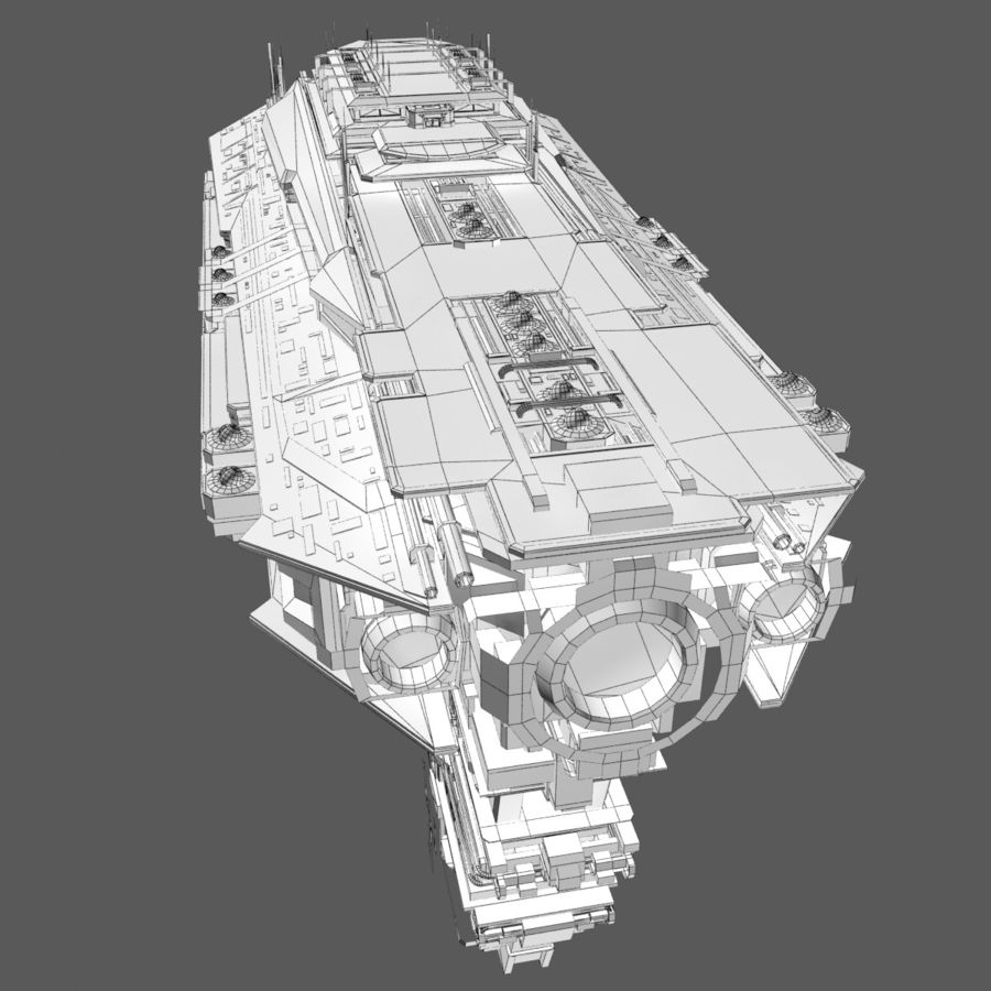 Sci Fi Spaceship Battleship Cruiser - Sci-Fi  Spacecraft 6 royalty-free 3d model - Preview no. 12