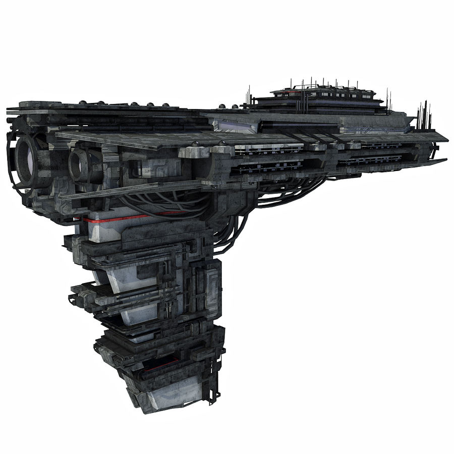 Sci Fi Spaceship Battleship Cruiser - Sci-Fi  Spacecraft 6 royalty-free 3d model - Preview no. 5