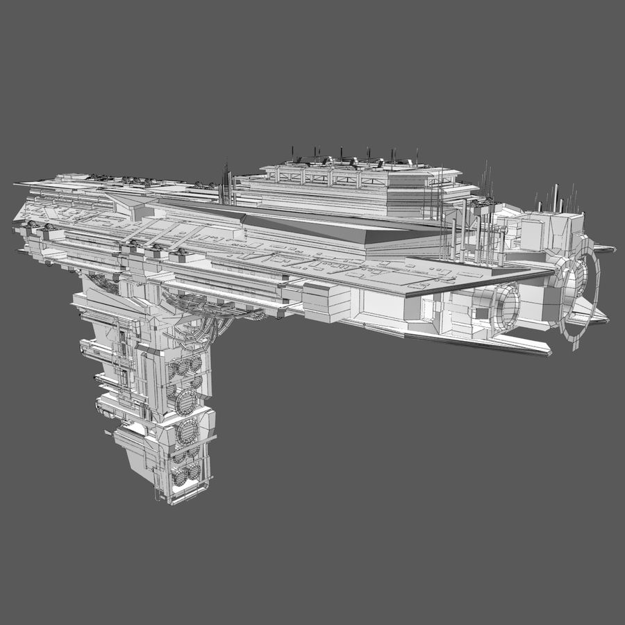 Sci Fi Spaceship Battleship Cruiser - Sci-Fi  Spacecraft 6 royalty-free 3d model - Preview no. 11