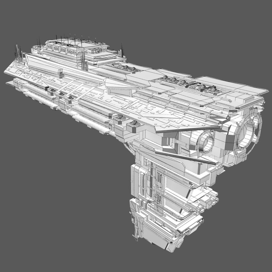 Sci Fi Spaceship Battleship Cruiser - Sci-Fi  Spacecraft 6 royalty-free 3d model - Preview no. 8