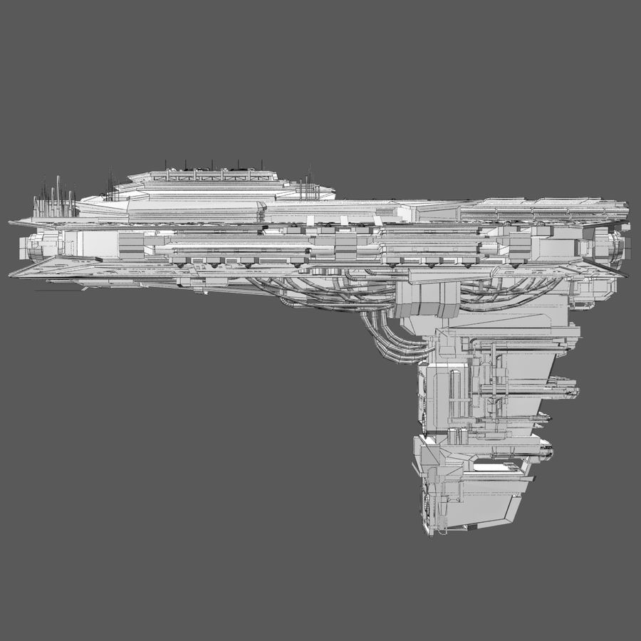 Sci Fi Spaceship Battleship Cruiser - Sci-Fi  Spacecraft 6 royalty-free 3d model - Preview no. 9