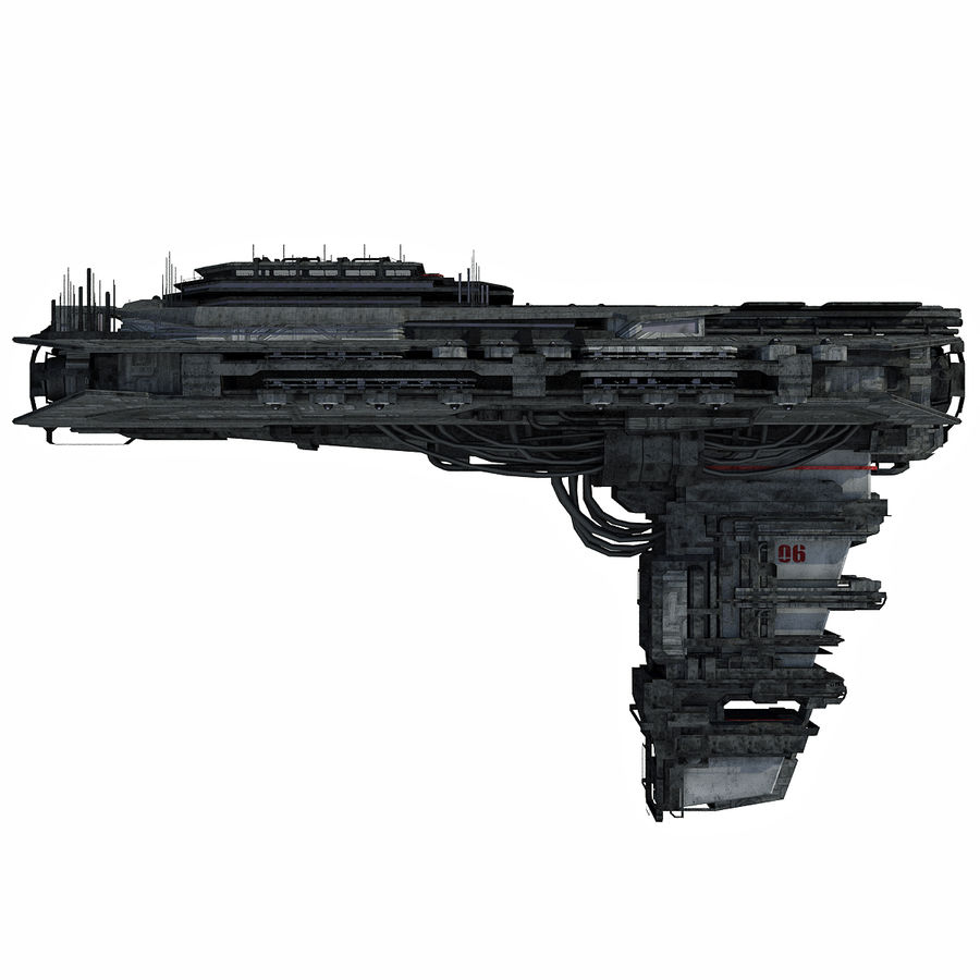 Sci Fi Spaceship Battleship Cruiser - Sci-Fi  Spacecraft 6 royalty-free 3d model - Preview no. 2