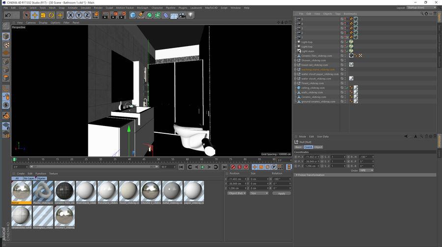 现代浴室场景 royalty-free 3d model - Preview no. 6
