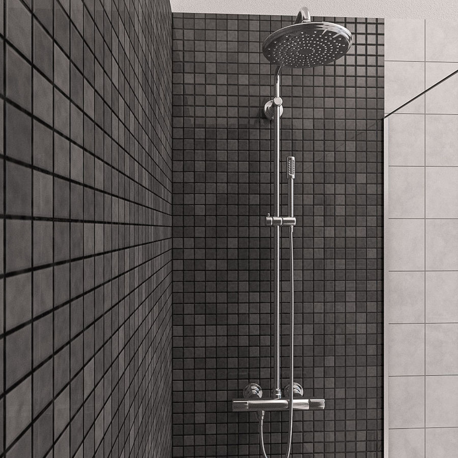 现代浴室场景 royalty-free 3d model - Preview no. 3