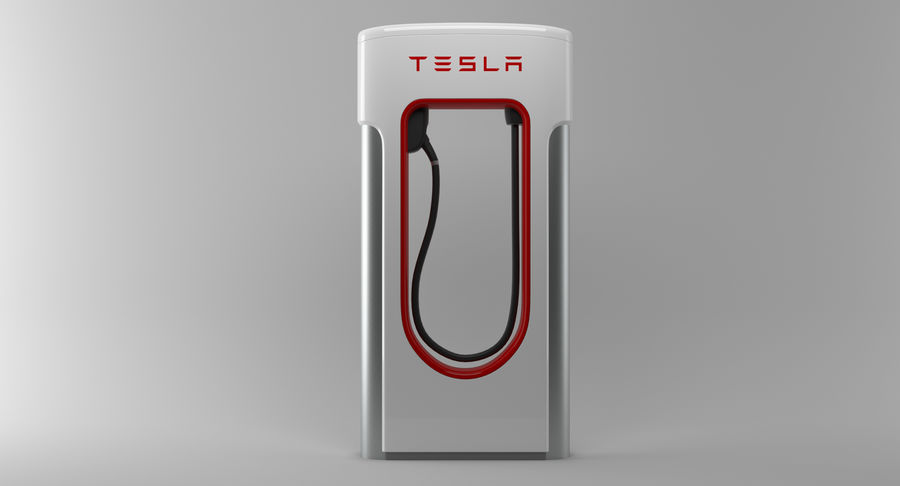 Tesla Car Charger royalty-free 3d model - Preview no. 8